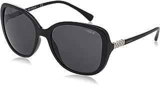 VOGUE Women's VO5154SB Oval Sunglasses, Black/Grey, 56 mm