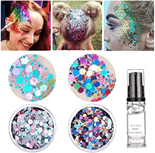 Holographic Chunky Body Glitter, Christmas Decorations Makeup Beauty Festival Cosmetic Glitter With Free Primer Gel, Face Body Hair Nails (Green&Rainbow)