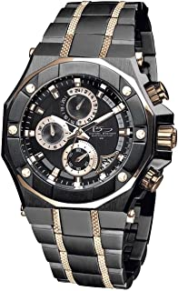 Phantom RX Black & Rose Gold Luxury Men's Chronograph Watch - Premium Grade Stainless Steel - 50M Water Resistant - Chronograph Movement with Date Calendar - Multi-Layered Dial