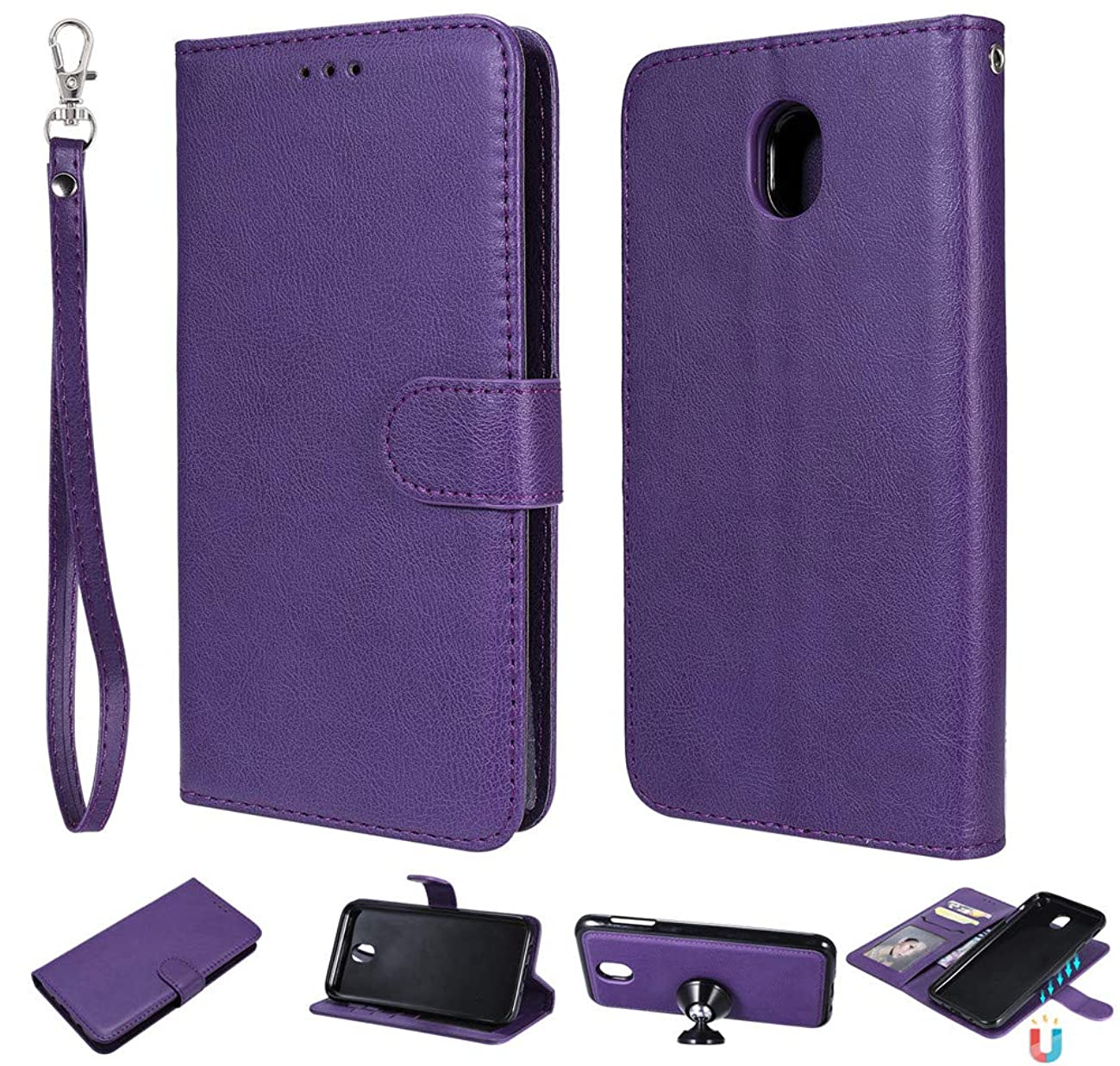 IVY 2 in 1 Wallet Case for Galaxy J7 Pro,[Detachable][Fit Magnetic Car Moun] Samsung J7 Pro SM-J730 PU Leather Folio Flip Cover with Wrist Strap - Purple