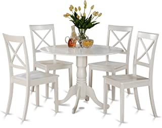 21837d5d29a6 East West Furniture DLBO5-WHI-W 5 PC Kitchen Set-Small Table and