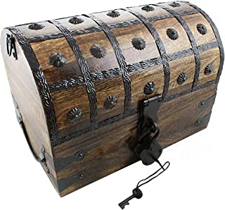 Pirate Treasure Chest with Iron Lock Skeleton Key Large 12 x 9 x 9 Decorative Box by Well Pack Box