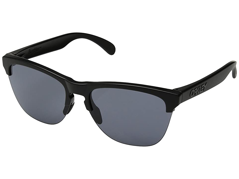 Oakley Frogskins Lite (Semi Matte Black w/ Grey) Athletic Performance Sport Sunglasses