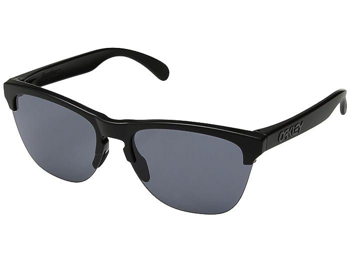 Oakley Frogskins Lite (Semi Matte Black w/ Grey) Athletic Performance Sport Sunglasses