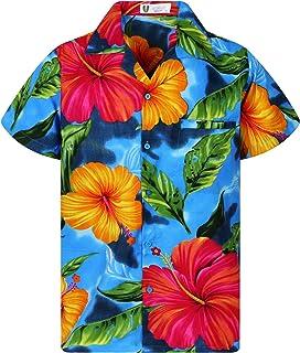V.H.O. Funky Hawaiian Shirt | Men | Short-Sleeve | Front-Pocket | Hawaiian-Print | Big Flower | Multiple Colours
