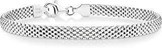 925 Sterling Silver Italian 5mm Mesh Link Chain Bracelet for Women, 6.5, 7, 7.5, 8 Inch Made in Italy
