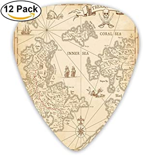 Highly Detailed Ancient Grunge Treasure Map Adventure Sailing Island Journey Travel Decorative Guitar Picks 12/Pack