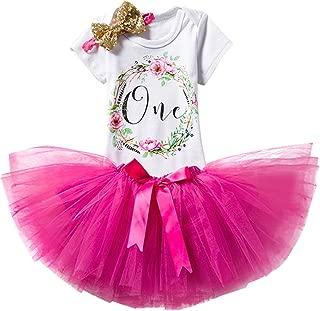 TTYAOVO Baby Girl 1st Birthday 3pcs Unicorn Outfits with Headband & Romper & Skirts