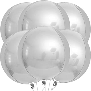 Large, 22 Inch Mylar Silver Balloons - Silver Party Decorations | Metallic 4D Sphere Silver Foil Balloons, Pack of 6 | Mir...