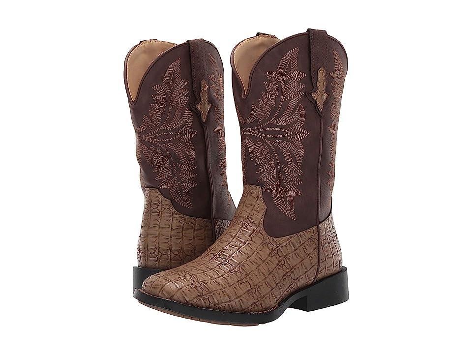 Roper Kids Chomp (Toddler/Little Kid) (Tan Faux Caiman Vamp/Brown Shaft) Cowboy Boots