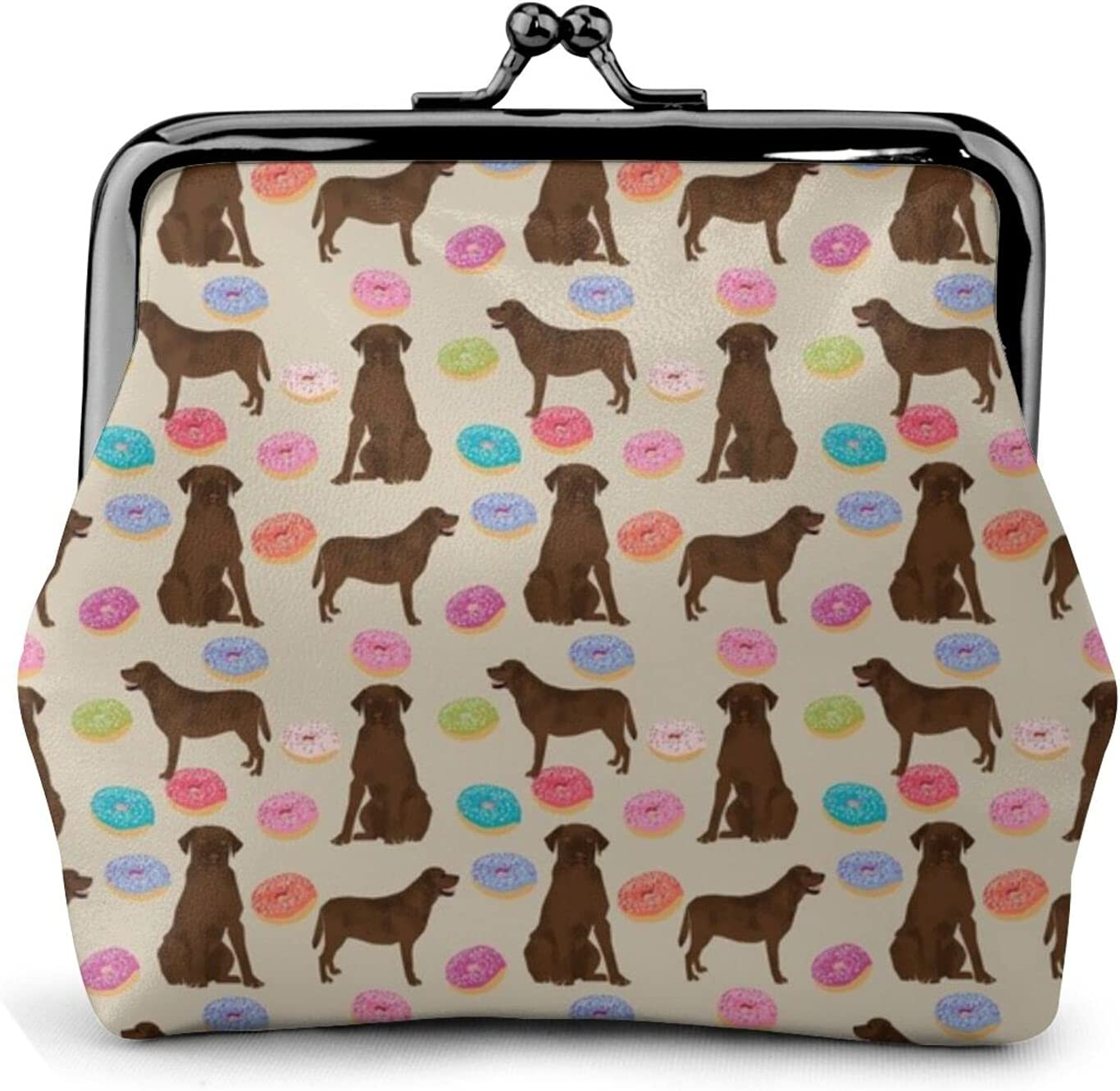 Chocolate Labrador Donuts 1557 Women'S Wallet Buckle Coin Purses Pouch Kiss-lock Change Travel Makeup Wallets, Black, One Size