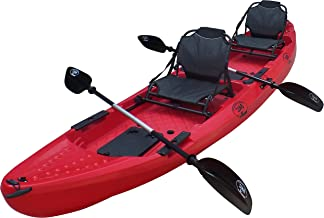 BKC TK29 13.1' Tandem Fishing Kayak W/ 2 Seats, 2 Paddles, 5 Rod Holders Included 2-3 Person Angler Kayak