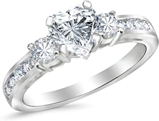 5ae61f37f1 1.1 Carat GIA Certified Heart Cut 14K White Gold Channel Set 3 Three Stone  Diamond Engagement