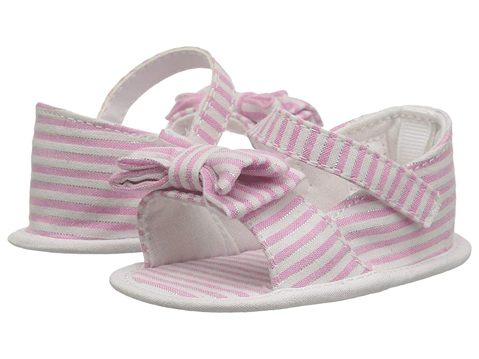 Baby Deer Peep-Toe Espadrille with Bow Waddle (Infant) (Pink/White) Girls Shoes