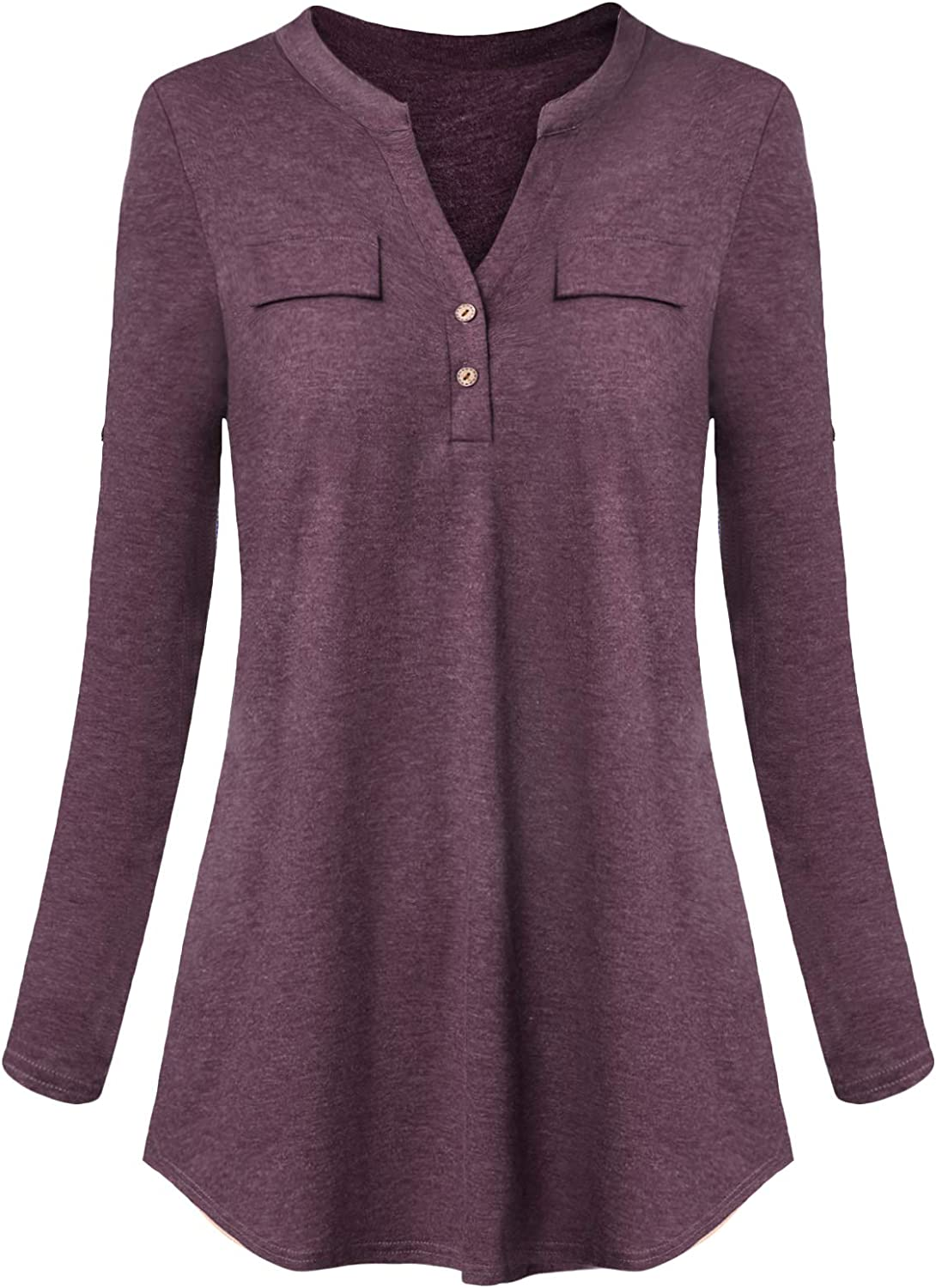 Mavis Laven Women's V Neck Henley Shirt Button Up Long Sleeve Tunic Tops Blouse