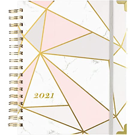 """2021 Planner - Weekly & Monthly Planner with Tabs and Thick Paper, Back Pocket with 15 Notes Pages + Gift Box - 8"""" x 10"""""""