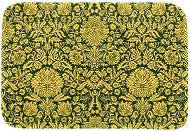 EGGDIOQ Doormats Gold Flower Pattern Custom Print Bathroom Mat Waterproof Fabric Kitchen Entrance Rug, 23.6 x 15.7in