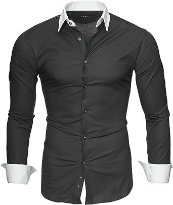 Kayhan Camisas Hombres Camisa Hombre Manga Larga Ropa Camisas de Vestir Slim fácil de Hierro Fit SML XL XXL-6X - Modello Mailand