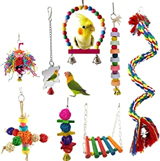 Parrot Birds Swing Chewing Toys Hanging Bell Suitable for Small Parakeets Conures Macaws Parrots Mynah Finches cockatiel t...