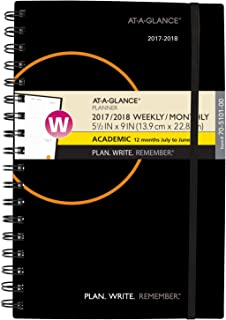 """AT-A-GLANCE Academic Weekly/Monthly Planner, July 2017 - June 2018, 5-1/2"""" x 9"""", Plan.Write.Remember, Color Will Vary (705..."""