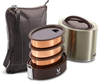 Vaya Tyffyn Graphite Copper-Finished Stainless Steel Lunch Box with Bagmat, 1000 ml, 3 Containers, Brown