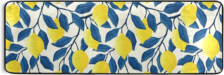 MNSRUU Max 60% OFF Long Runner Rug for Lemons Tropical Free shipping on posting reviews Yellow Fruit Hallway