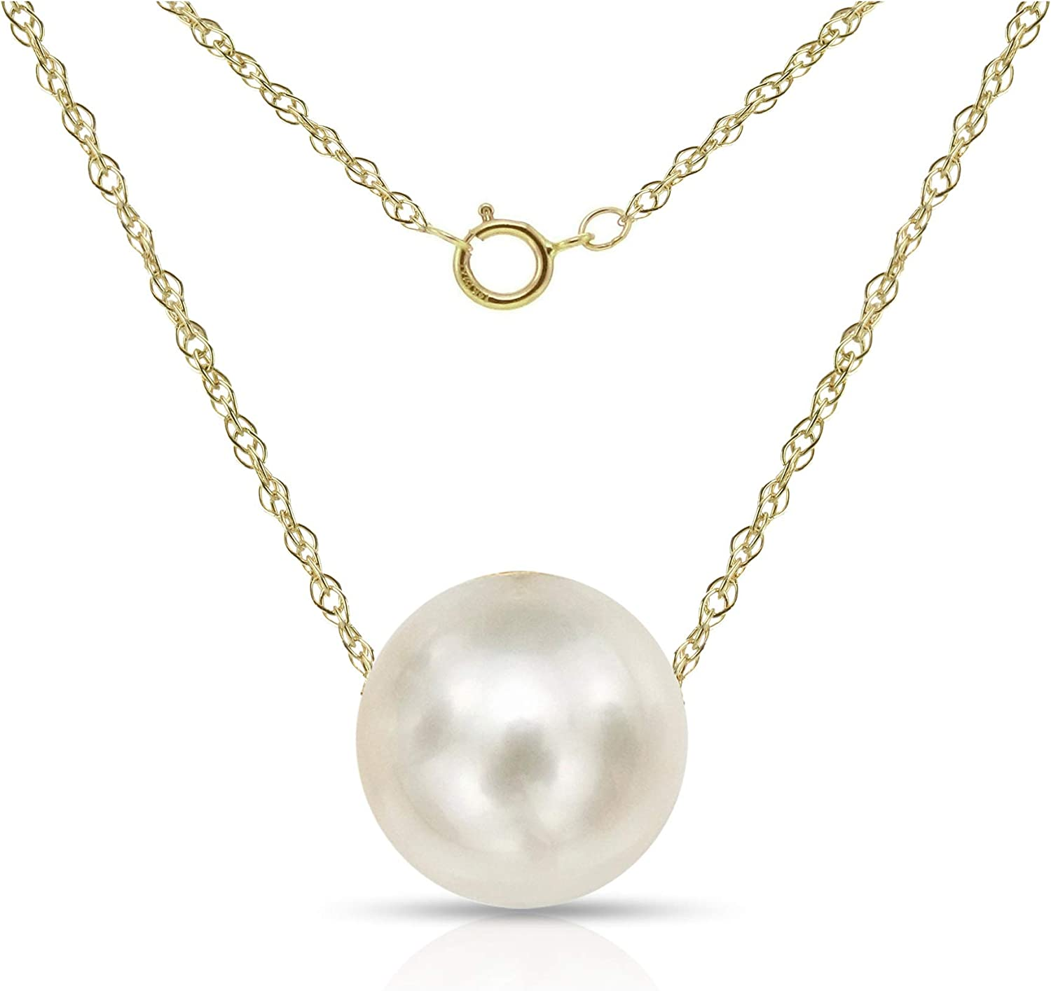 14K Gold Chain Necklace with Single Floating White Freshwater Cultured Pearl Pendant, 18