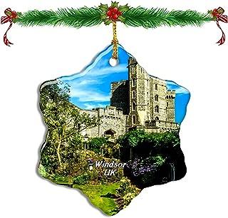 Fcheng UK England Windsor Castle Christmas Ceramic Ornament Tree Decor City Travel Souvenir Double Sided Snowflake Sublimation Porcelain Hanging Ornament