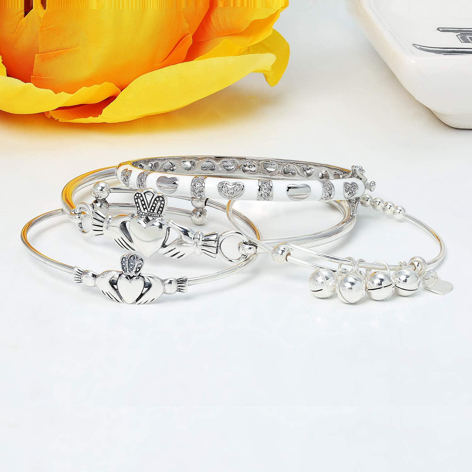 Tiny White or Pink Bangle Bracelet for Women Enamel CZ Pave Hearts Silver Gold Plated Brass for Small Wrists