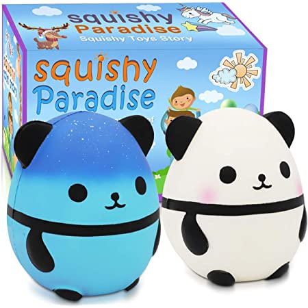 VCOSTORE 4 Pcs Squishy Panda Buns Pack with Phone Straps Slow Rising Squishies Panda Soft and Scented Squeeze Panda Ball Stress Relief for Adults Kids Gift Bag Fillers-Great Gift for Christmas