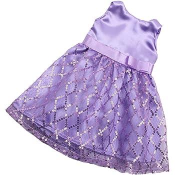 MagiDeal H/übschs Puppenkleid Pailletten /ärmelloses Partykleid F/ür 18 Zoll Puppe Party Dress Up Blau