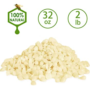 YIH Beeswax Pellets 2 lb, White, Pure, Bees Wax Pastilles, Triple Filtered, Great for DIY Projects, Lip Balms, Lotions