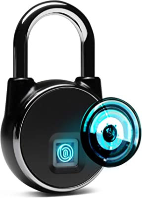 HIMA HOME Fingerprint Padlock (2nd Generation) Bluetooth Connection IP66 Waterproof Upto 40 Fingerprints USB Chargeable Good for Home Door Bag Luggage Gym Lockers Bike Warehouse Pickup Trucks etc