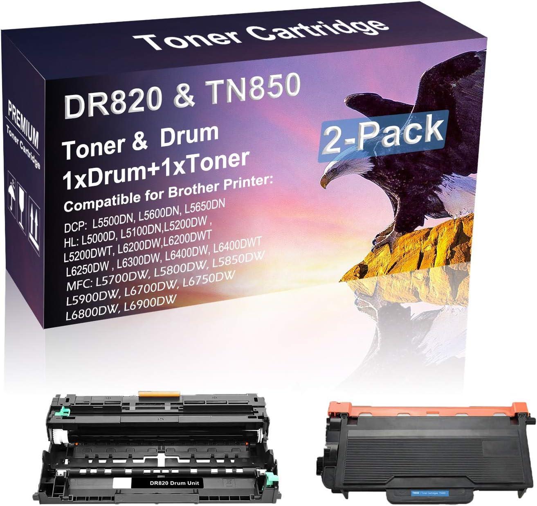 2 Pack Compatible High Capacity DR820 TN850 Laser Printer Toner Cartridge Drum Unit use for Brother HL-L6300DW HL-L6400DW HL-L6400DWT Printer (Drum, 1-Toner)