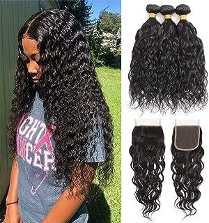 Brazilian Water Wave Human Hair 3 Bundles with Lace Closure 9A (14 12 10+10)100% Unprocessed Brazilian Water Wave Hair Weave Bundles Natural Black Color