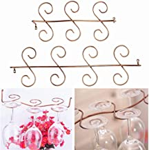 Wine Rack Wine Rack 2 Pack of Under-Cabinet Stainless Steel Wine Glass Holder Rack, 18.50x5.71x2.56 inch, Brown Storage