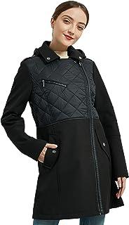 Women's Black Winter Coat, Warm Lightweight Long Outwear Zip Up Cotton Leather Joint Jacket with Pockets XS-XL