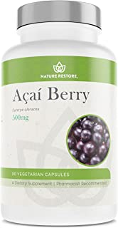 Organic Acai Berry Supplement, Freeze Dried, 90 Acai Berry Capsules, Non GMO, Gluten Free, Vegan