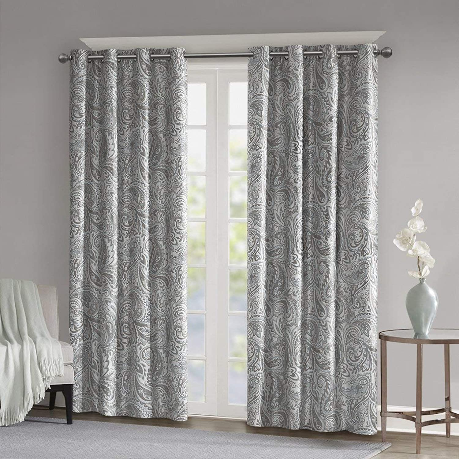 Blackout Curtains For Bedroom , Traditional Grommet Grey Window Curtains For Living Room Family Room ,  Jenelle Paisley Therma Black Out Window Curtain For Kitchen, 50X84 , 1-Panel Pack
