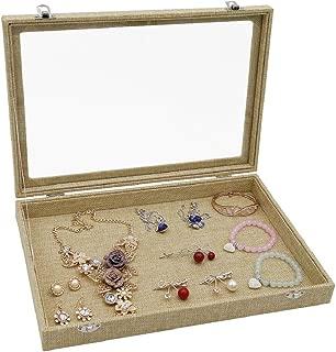 Wuligirl Clear Lid Linen Multifunction Jewelry Tray Organizer Showcase Display Necklace Rings Earrings Watch Bracelets Sackcloth Box Case Women(Empty Jewelry Box)