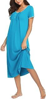 Hotouch Loungewear Long Nightgown Soft Short Sleeve Full Length Night Shirts Sleepwear