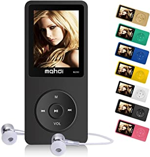 MYMAHDI 16GB MP3 Music Player 1.8 Inch Screen 70h Lossless Sound, Support up to 128GB Micro SD Card Black