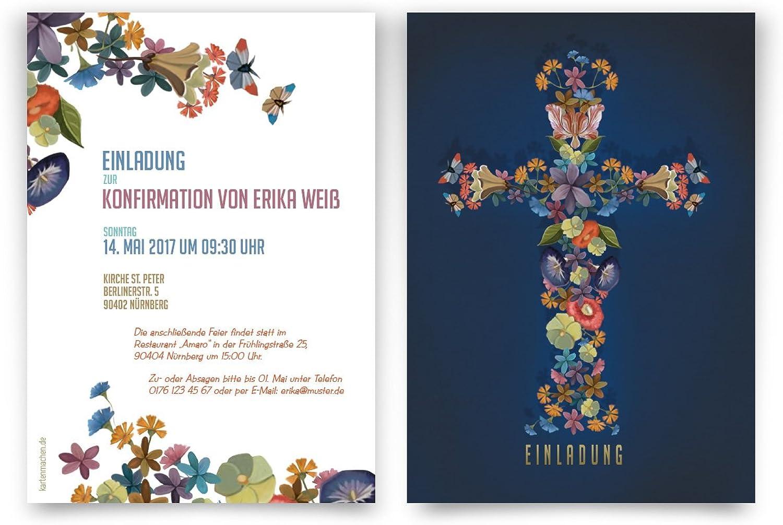 Konfirmation Einladungskarten (40 Stück) - Blaumenkreuz Bunt - Konfirmationskarten Einladungen B06XGD64BY | Zürich