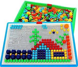 Toys 296 Pcs Mushroom Nails Jigsaw Puzzle Game Mosaic Pegboard Educational Toys Random Colors
