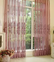 Dirty Curtain Beautiful Sheer Curtain Casual Style Flower Embroidered Rod Pockets Window Decoration Drape Voile Panel for ...