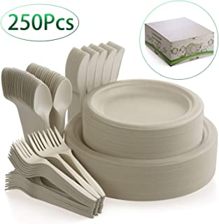Fuyit 250Pcs Disposable Dinnerware Set, Compostable Sugarcane Cutlery Eco-Friendly Tableware Includes Biodegradable Paper Plates, Forks, Knives and Spoons Combo for Party, Camping, Picnic(Natural)
