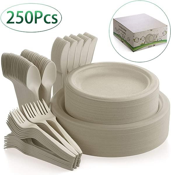 Fuyit 250 件一次性餐具套装可堆肥的甘蔗餐具环保餐具包括可生物降解的纸盘、叉子、刀子和勺子组合,用于派对野营、野餐、天然