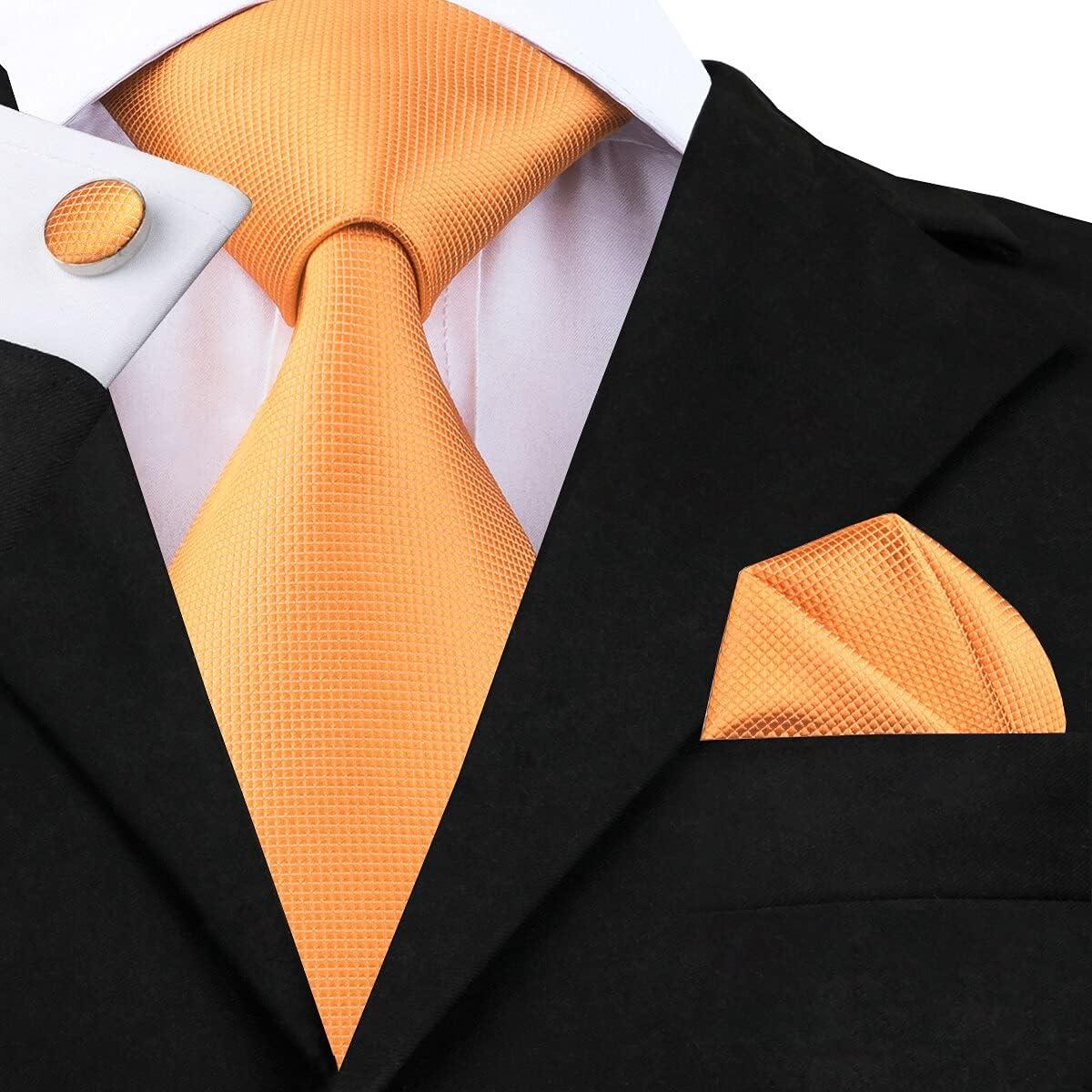 8.5cm Men Tie Solid Orange Neck Ties Set Boutonniere Pocket Square Cufflink Gift Box for Wedding Party Suit Cravat