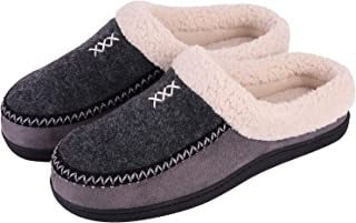 Men's Cozy Memory Foam Micro Woolen Plush Fleece Slippers Slip On Clog House Shoes w/Hand-Craft Woven Trim