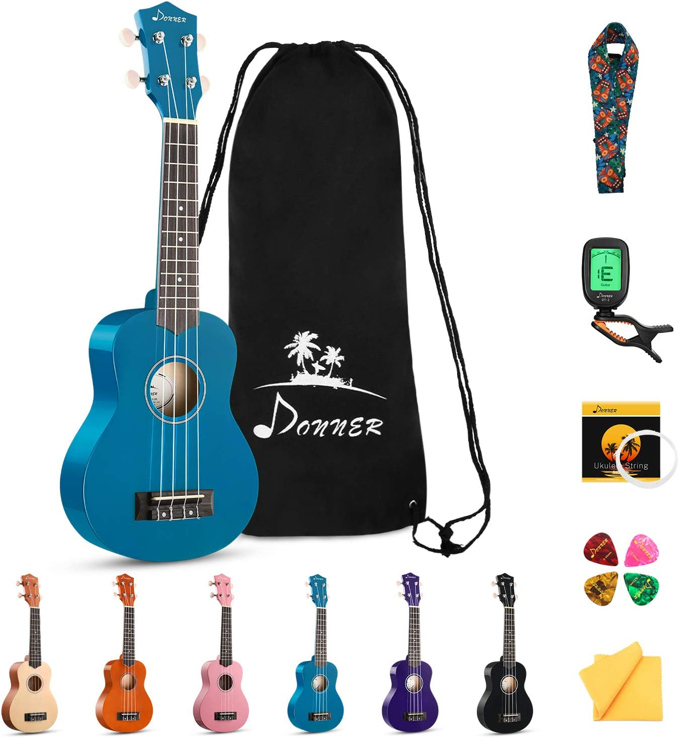 Donner Soprano Ukulele Beginner Kit Max 90% OFF for with Adult Student 5 ☆ popular Kid O